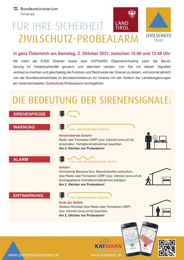 02.10.2021: Vorankündigung Zivilschutzprobealarm 2021